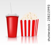 popcorn and a drink . vector... | Shutterstock .eps vector #258215993