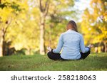 rear view of woman sitting in... | Shutterstock . vector #258218063
