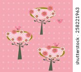background with flowering trees ... | Shutterstock .eps vector #258221963
