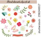 Floral Elements Clip Art Set