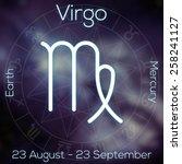 Zodiac Sign   Virgo. White Lin...