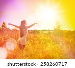 free happy woman enjoying... | Shutterstock . vector #258260717