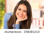 portrait of cute young brunette ... | Shutterstock . vector #258281213