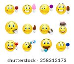 cute emoticons with different... | Shutterstock .eps vector #258312173