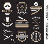 barber shop logo labels badges... | Shutterstock .eps vector #258317237