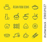asian food line icons set | Shutterstock .eps vector #258319127