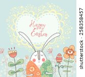 bright happy easter card in... | Shutterstock .eps vector #258358457
