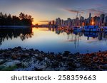 downtown vancouver marina at... | Shutterstock . vector #258359663