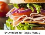 healthy turkey sandwich on a... | Shutterstock . vector #258370817