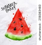 poster summer party as a slices ... | Shutterstock .eps vector #258383483