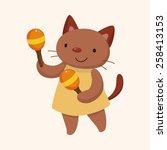 Stock vector animal cat playing instrument cartoon theme elements 258413153