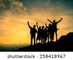 silhouette people are happy on... | Shutterstock . vector #258418967