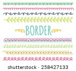 set of colorful hand drawn... | Shutterstock . vector #258427133
