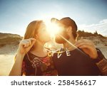 happy couple in love on the...   Shutterstock . vector #258456617