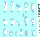 alcohol glasses. icon set....   Shutterstock .eps vector #258478877