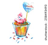 the cupcake with the heart.... | Shutterstock .eps vector #258493493