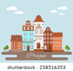 prague  cityscape. flat design...   Shutterstock .eps vector #258516353