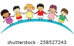 kids lined up | Shutterstock . vector #258527243