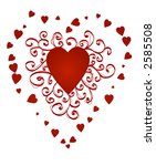 red heart with curly ornament ... | Shutterstock . vector #2585508
