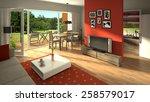 3d rendering of a modern living ... | Shutterstock . vector #258579017
