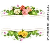 Stock vector background with roses 258591167