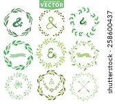 set of watercolor wreaths and... | Shutterstock .eps vector #258600437