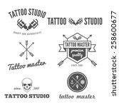vector set of trendy tattoo... | Shutterstock .eps vector #258600677