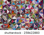 colorful crazy quilt for sale ... | Shutterstock . vector #258622883