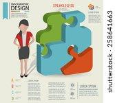 puzzle info graphic design... | Shutterstock .eps vector #258641663