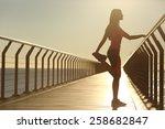 woman silhouette exercising... | Shutterstock . vector #258682847