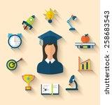 illustration flat icons of... | Shutterstock .eps vector #258683543