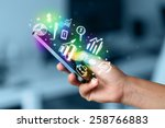 smartphone with finance and... | Shutterstock . vector #258766883