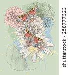 vector sketch of a butterflies...   Shutterstock .eps vector #258777323