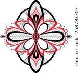 black and red floral folk... | Shutterstock .eps vector #258786707