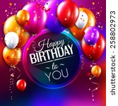 vector birthday card with... | Shutterstock .eps vector #258802973