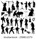 musicians silhouettes | Shutterstock .eps vector #258811373