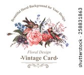 vintage floral card with roses  ... | Shutterstock .eps vector #258831863