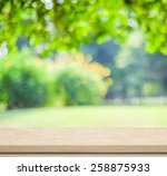 empty wood table over blurred... | Shutterstock . vector #258875933