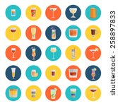 alcohol drinks icon set flat... | Shutterstock .eps vector #258897833