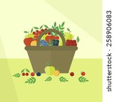 card with basket with fruits... | Shutterstock .eps vector #258906083