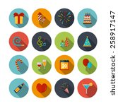 celebration icons set with... | Shutterstock .eps vector #258917147