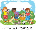 cute kids playing with their... | Shutterstock . vector #258925193