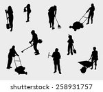people working outdoors... | Shutterstock .eps vector #258931757