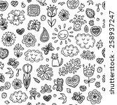 Spring Doodles Set. Hand Draw...