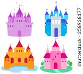 Cute Fairy Tale Castles Set.