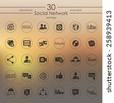 set of social network icons | Shutterstock .eps vector #258939413