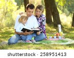 young family read the bible in... | Shutterstock . vector #258951413