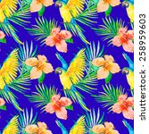 macaw seamless pattern.... | Shutterstock . vector #258959603