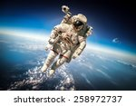 Astronaut Outer Space Against Backdrop - Fine Art prints