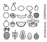 black and white fruits and... | Shutterstock .eps vector #258990323